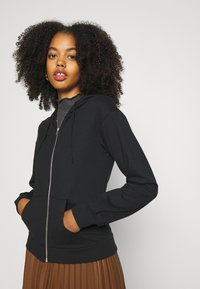 Even&Odd - REGULAR FIT ZIP UP HOODIE JACKET - Zip-up hoodie - black
