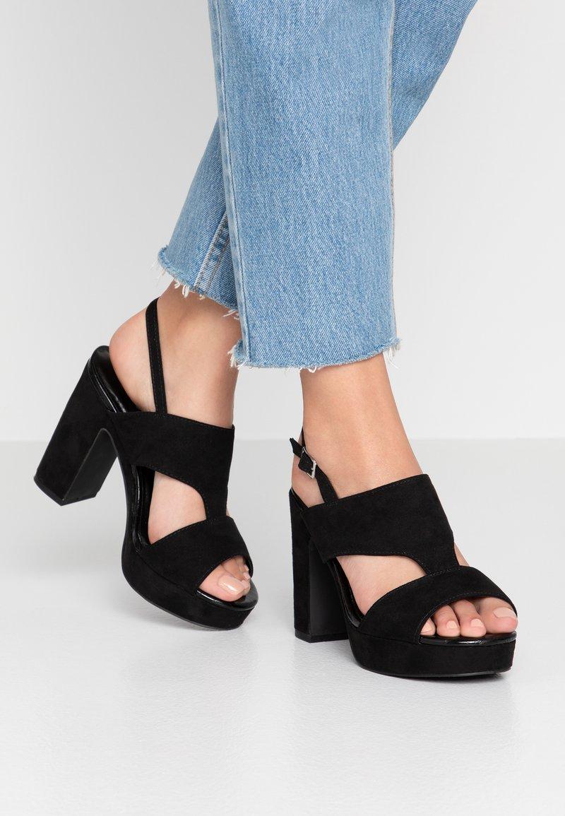 New Look Wide Fit - WIDE FIT ZARTY  - Sandály na vysokém podpatku - black