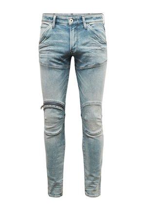 5620 3D ZIP KNEE SKINNY - Skinny džíny - sun faded scanda blue