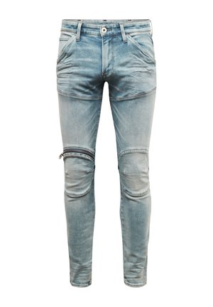 5620 3D ZIP KNEE SKINNY - Jeans Skinny - sun faded scanda blue