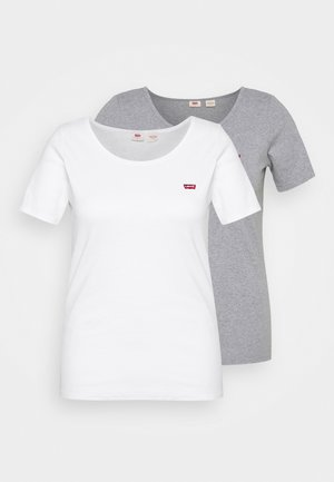TEE 2 PACK  - T-paita - white/grey