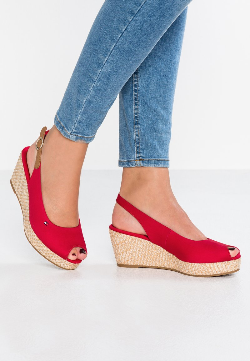 Tommy Hilfiger - ICONIC ELBA BASIC SLING BACK - Platform sandals - red