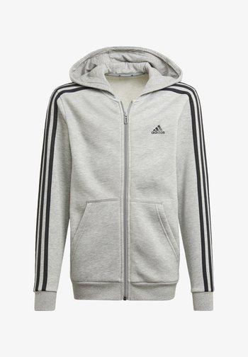 ESSENTIALS 3-STRIPES HOODIE - Zip-up sweatshirt - grey