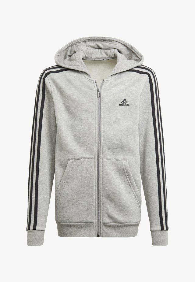 ESSENTIALS 3-STRIPES HOODIE - Huvtröja med dragkedja - grey