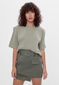 Bershka - A-line skirt - khaki - 0