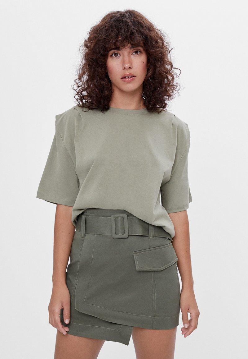 Bershka - A-line skirt - khaki