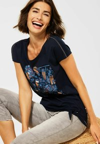 Cecil - MIT SCHLEIFEN DETAIL - Print T-shirt - blau - 1