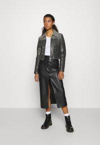 Diesel - LYLE JACKET - Leather jacket - black/grey - 1
