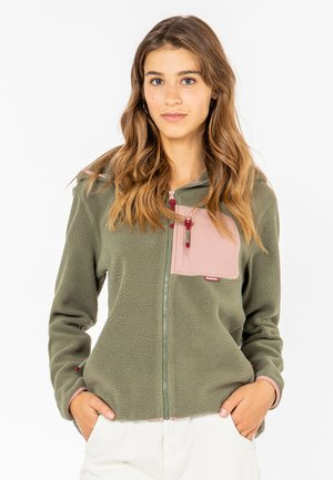 FLEECEJACKE MIT BRUSTTASCHE - Fleece jacket - middle-green