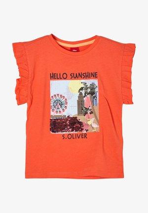 MIT WENDEPAILLETTEN - Print T-shirt - orange