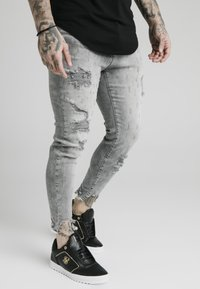 SIKSILK - RAW CUFF CROPPED SKINNY JEANS - Skinny džíny - washed grey - 4