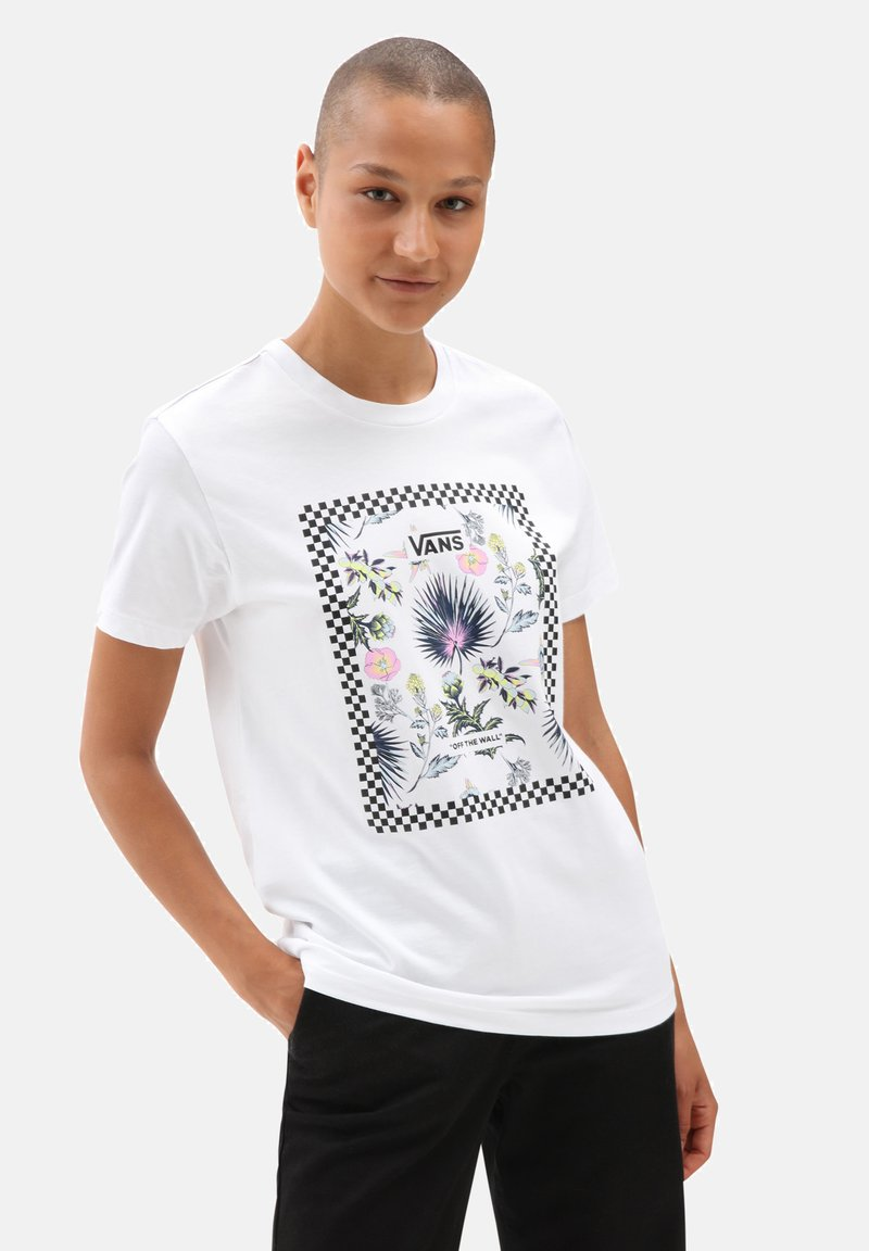 Vans - WM BORDER FLORAL BF - Print T-shirt - white