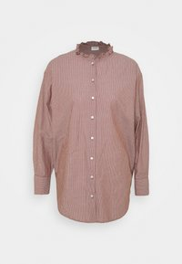 JDYBUBBLE LIFE FRILL LONG - Button-down blouse - root beer/cloud dancer