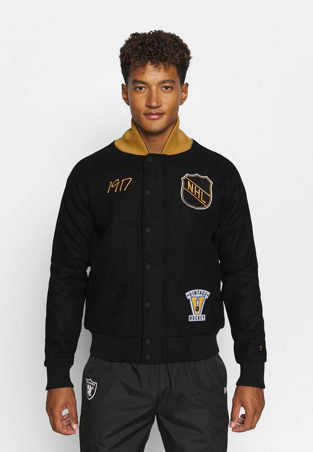 NHL TRUE CLASSICS SHIELD LETTERMAN JACKET - Club wear - black