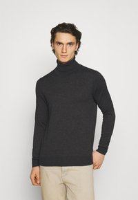 Jack & Jones PREMIUM - JPRFAST ROLL NECK  - Stickad tröja - dark grey melange - 0