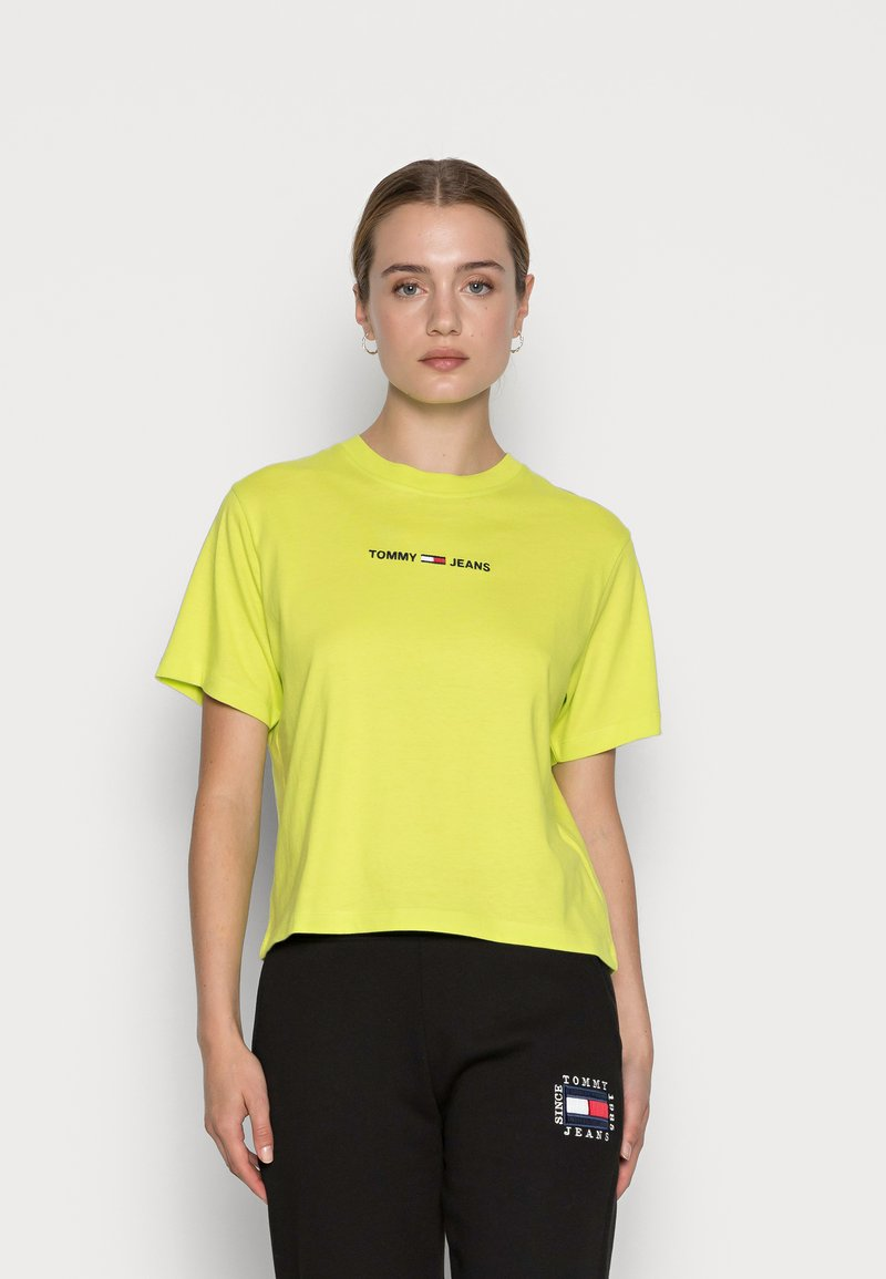 Tommy Jeans - LINEAR LOGO TEE - Basic T-shirt - neo lime