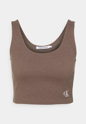 SLUB CROPPED STRAPPY - Top - dusty brown