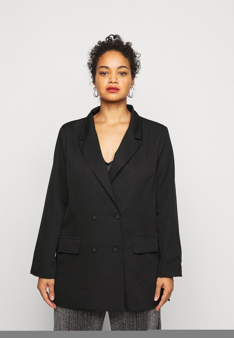 Missguided Plus - DOUBLE BREASTED - Blazer - black