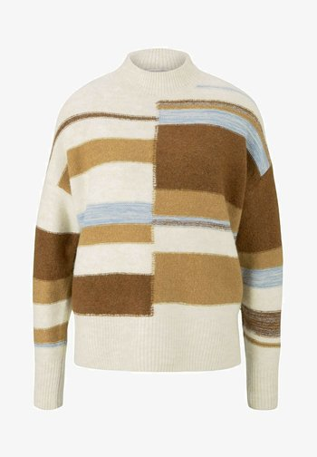 Jumper - beige brown patchwork stripes