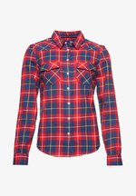 Button-down blouse - dark red check