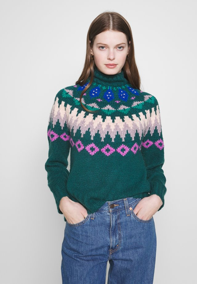 MOCK NECK FAIR ISLE - Strikkegenser - green