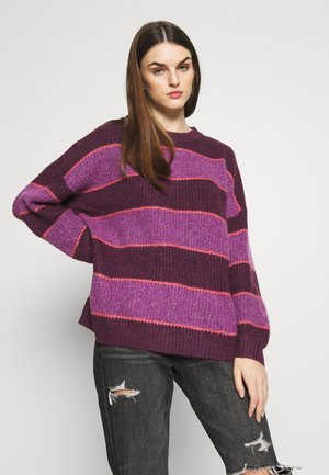 RUGBY STRIPE OVERSIZED JEGGING PULLOVER - Trui - purple