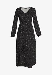 Cotton On - WRAP LONG SLEEVE MIDI DRESS - Denní šaty - ditsy black - 4