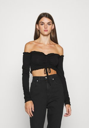 CROPPED DRAWSTRING - Langærmede T-shirts - black