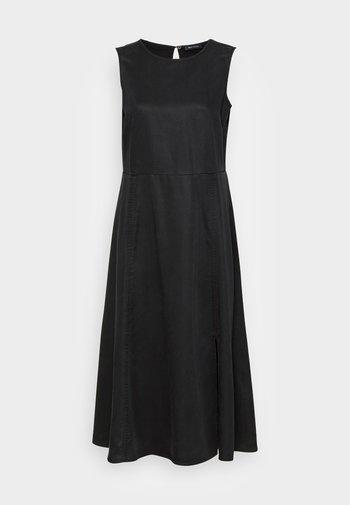 DRESS FEMININE SILHOUETTE CUTLINES SLITS MIDI LENGTH - Day dress - dusty black