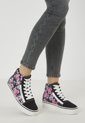 MACK MID - High-top trainers - black/pink flower
