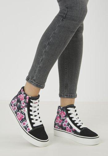 MACK MID - Sneakers alte - black/pink flower