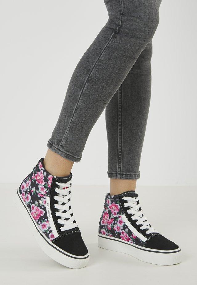 MACK MID - Sneakers high - black/pink flower