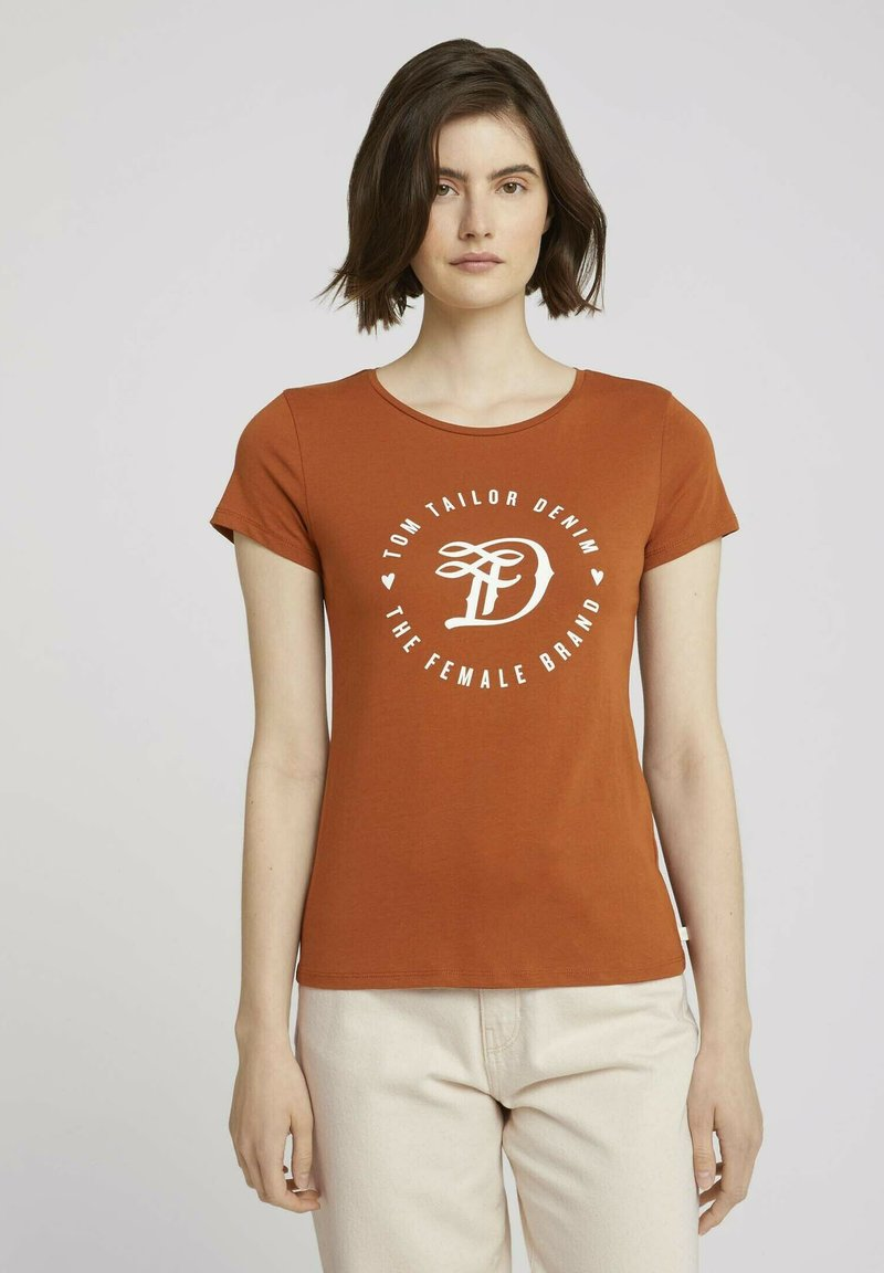 TOM TAILOR DENIM - MIT PRINT - Print T-shirt - amber brown