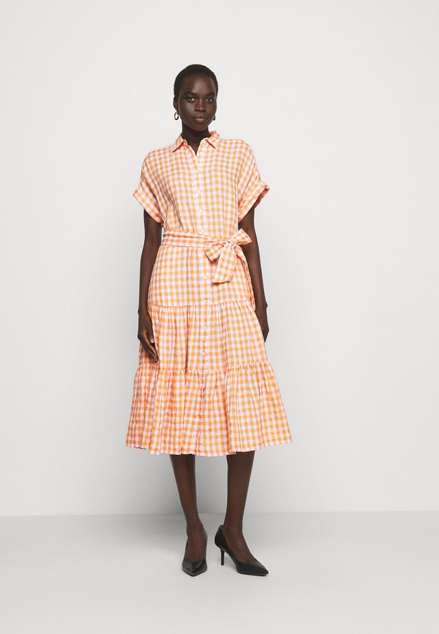 DRESS - Shirt dress - orange/white