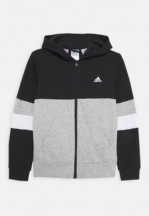 Zip-up hoodie - black/medium grey heather/white