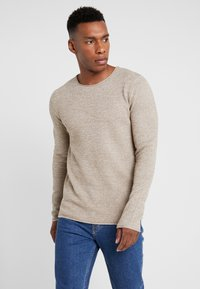 Selected Homme - SLHROCKY CREW NECK - Strikpullover /Striktrøjer - sepia/light grey melange - 0