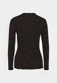 TOM TAILOR DENIM - LONGSLEEVE WITH LETTUCE EDGES - Long sleeved top - black rust flower print