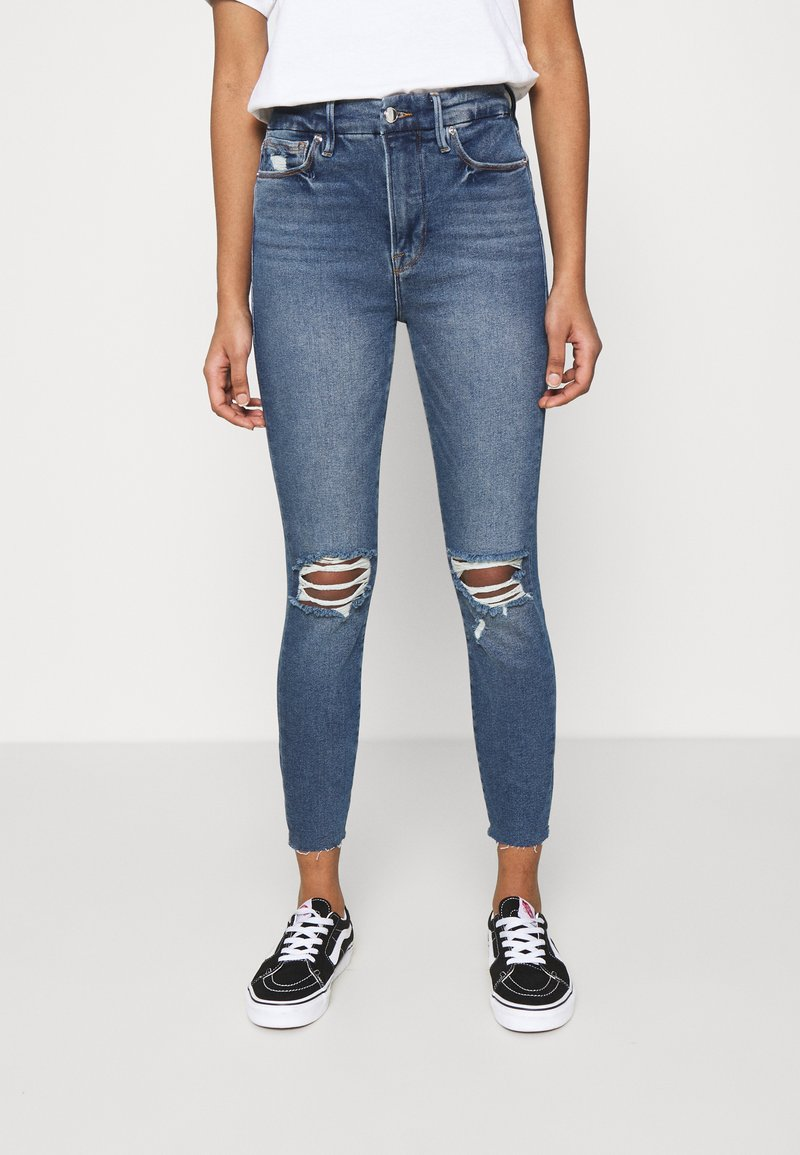 Good American - WAIST CROP RAW EDGE - Jeans Skinny Fit - blue