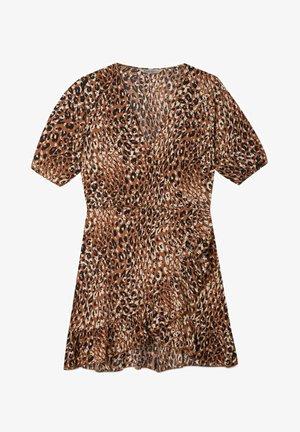 KURZES KLEID MIT AUSSCHNITT IN WICKELOPTIK - Day dress - brown