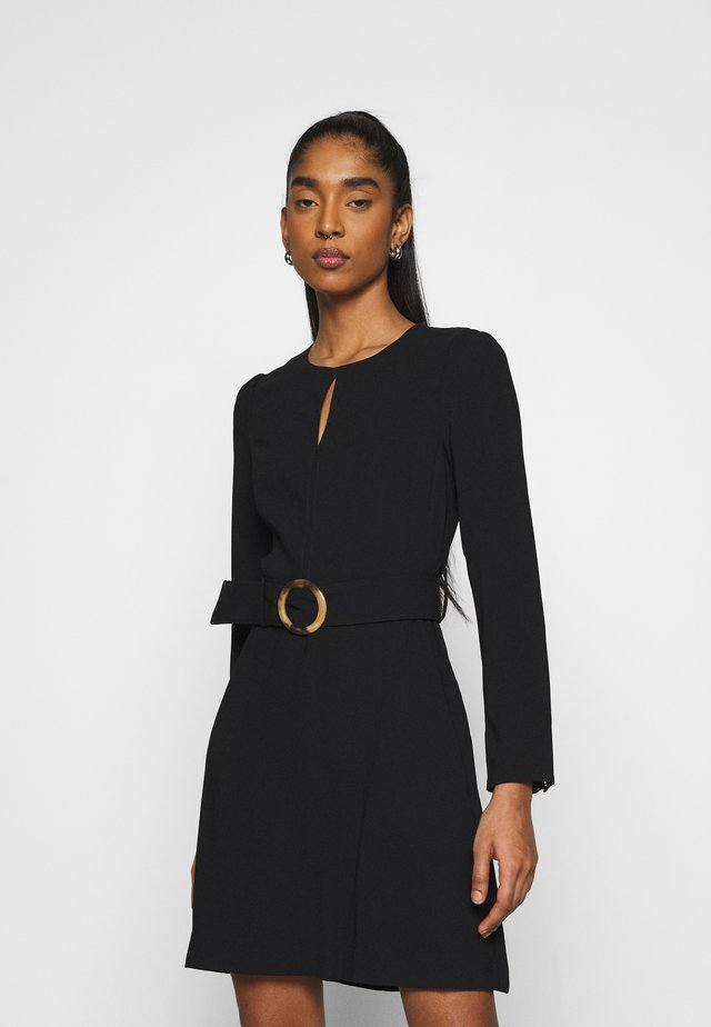 LAURA DRAPE WORKWEAR DRESS - Pouzdrové šaty - black
