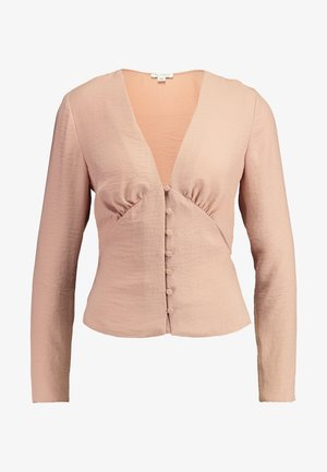 ROULEAU BUTTON PLUNGE LONG SLEEVE BLOUSE - Blouse - pink