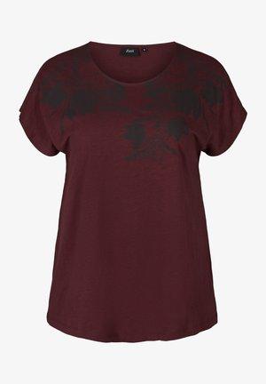 T-shirt z nadrukiem - bordeaux
