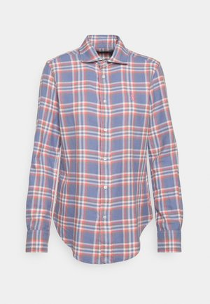 GEORGIA LONG SLEEVE BUTTON FRONT - Button-down blouse - blue/red