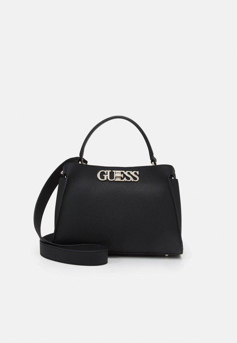 Guess - UPTOWN CHIC TURNLOCK SATCHEL - Handbag - black