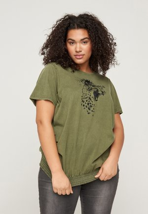 Print T-shirt - ivy green