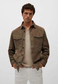 Mango - Leather jacket - hellbraun/pastellbraun - 0