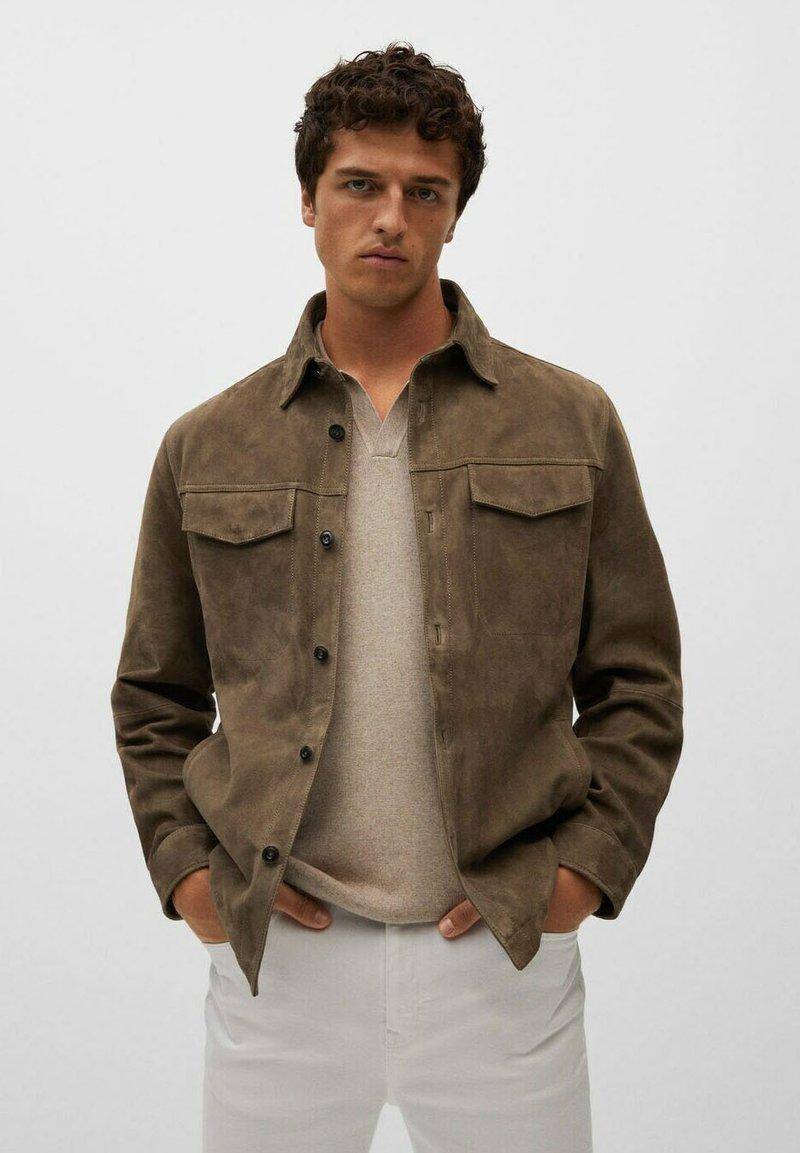 Mango - Leather jacket - hellbraun/pastellbraun
