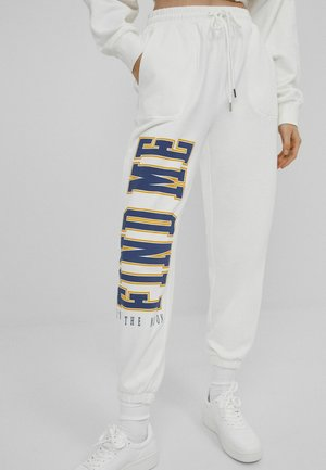 MIT PRINT - Trainingsbroek - white