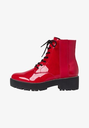 STIEFELETTE - Lace-up ankle boots - red patent
