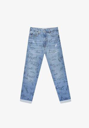 Straight leg jeans - mottled light blue